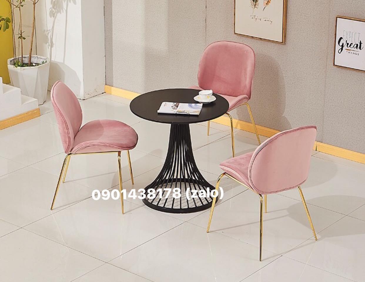 Bộ bàn nôm 3 ghế nhung Gubi chân mạ vàng