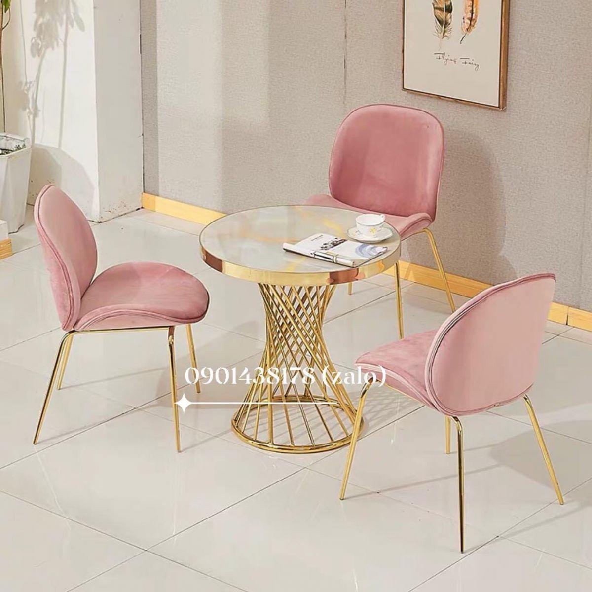 Bộ bàn nôm mạ vàng 3 ghế nhung Gubi chân mạ vàng