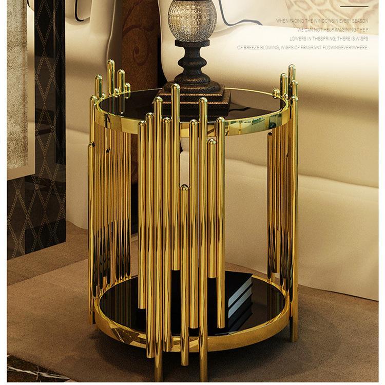 Bàn Sofa mặt kính chân mạ vàng BLM26