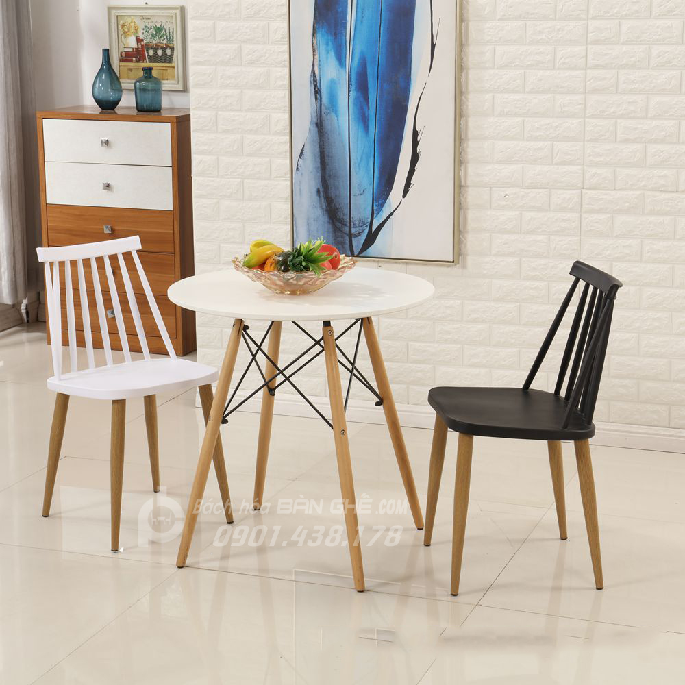 Bộ bàn tròn 4 chân 2 ghế nhựa 7 song chân sắt sơn giả gỗ GLM20