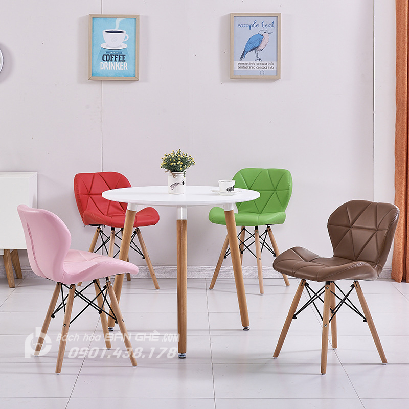 Bộ bàn tròn 4 ghế da tam giác GLM12