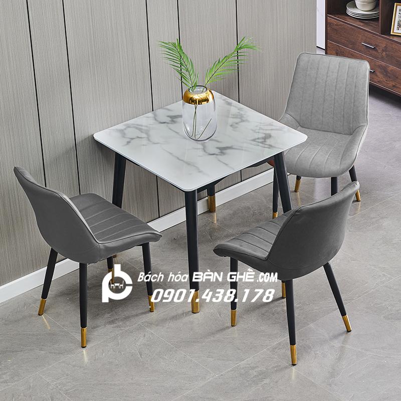 Bộ bàn vuông đá 3 ghế da chân sắt sơn tĩnh điện bọc núm đồng GLM102A
