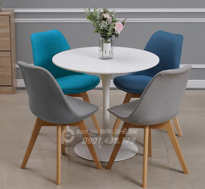 Bộ bàn tròn tulip ghế bọc vải tiếp khách