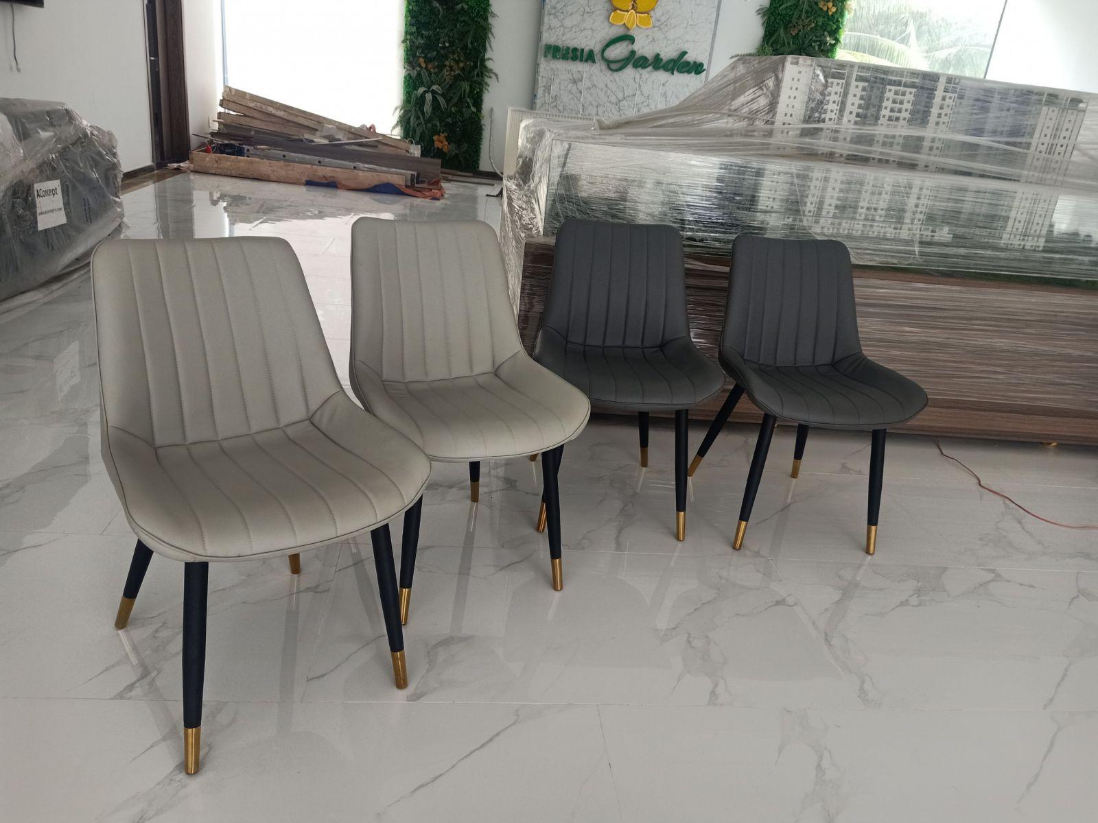 Ghế da pu chân săt sơn tĩnh điện bọc núm đồng GLM102A