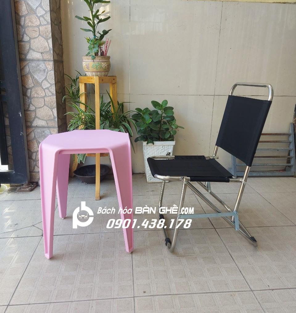Bộ bàn nhựa ghế xếp cafe vỉa hè, trà chanh