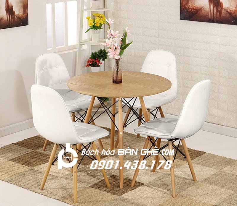 Bộ bàn tròn 4 ghế da cúc GLM11 màu trắng