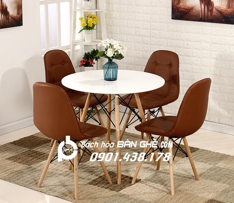 Bộ bàn tròn 4 ghế da cúc GLM11 màu nâu