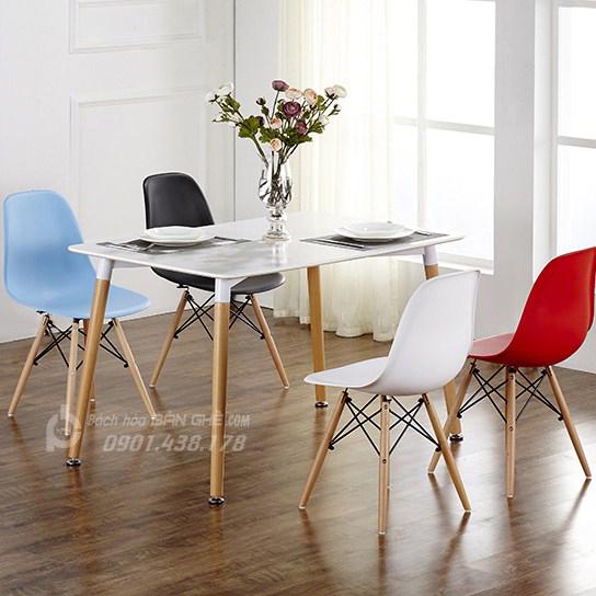 Bộ bàn ăn chữ nhật 4 ghế nhựa GLM09