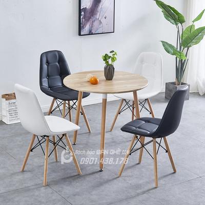 Bộ bàn tròn 4 ghế da cúc GLM11