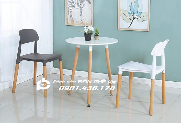 Bộ bàn tròn 2 ghế nhựa chân gỗ GLM15