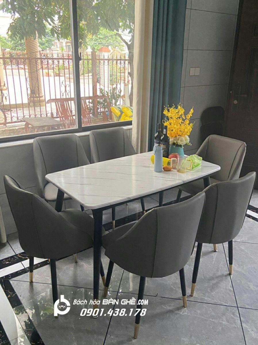 Bộ bàn ăn mặt đá ghế da ghế da chân sắt bọc núm đồng GLM121