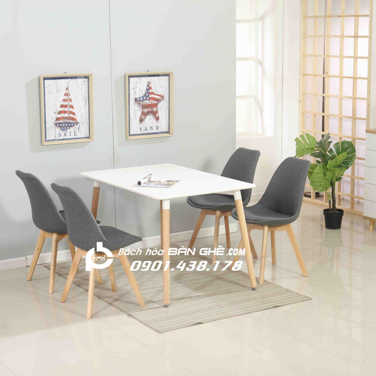 Bộ bàn ăn chữ nhật màu gỗ 4 ghế bọc vải GLM27 màu xám
