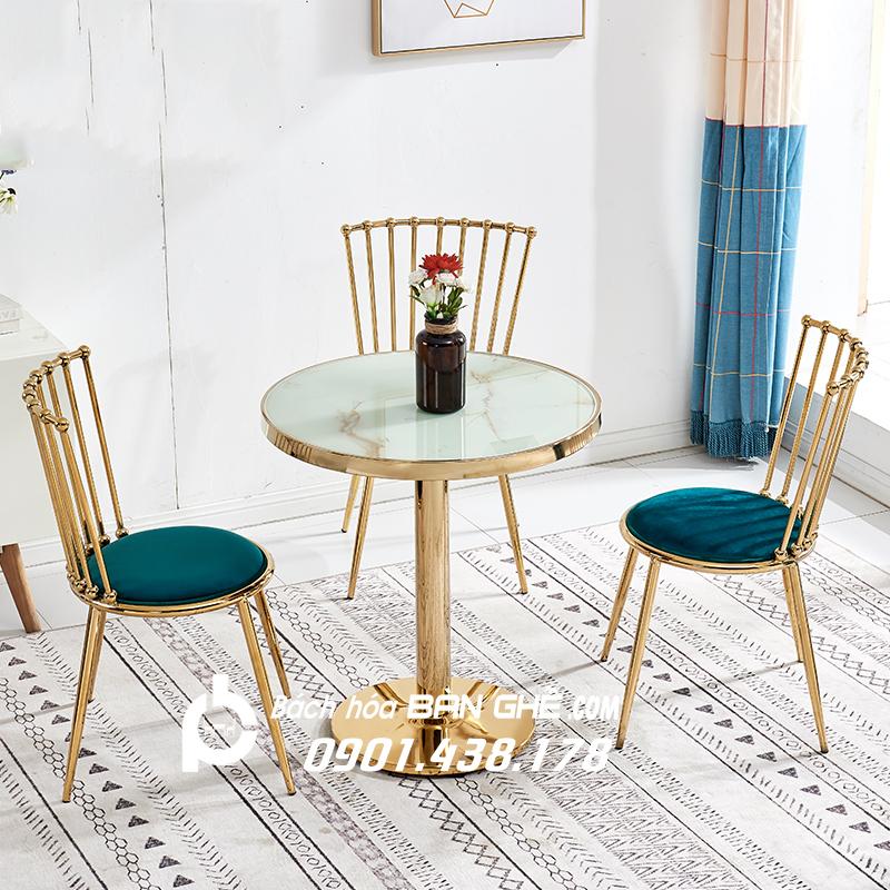 Bộ bàn ghế tiếp khách bàn tròn mạ vàng 4 ghế song mạ vàng GLM119