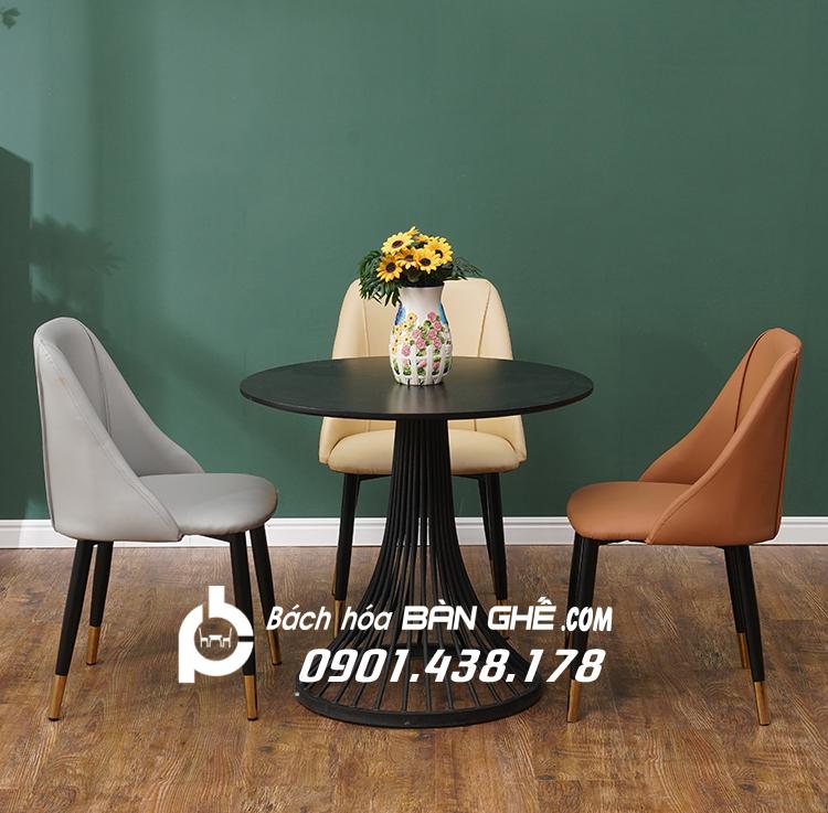 Bộ bàn nôm ghế da chân sắt bọc núm đồng GLM121