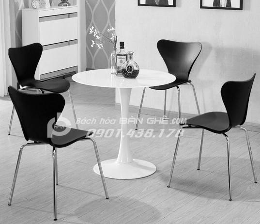 Bộ bàn tròn ghế nhựa chân inox tiếp khách văn phòng