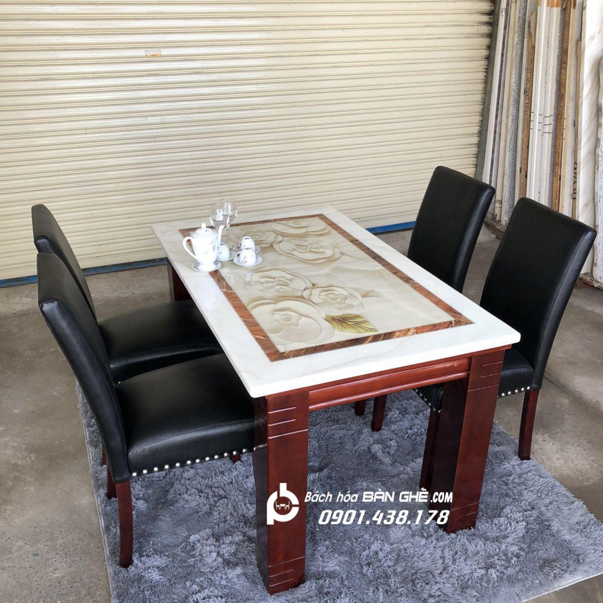Bộ bàn ăn mặt đá 4 ghế da MAV04