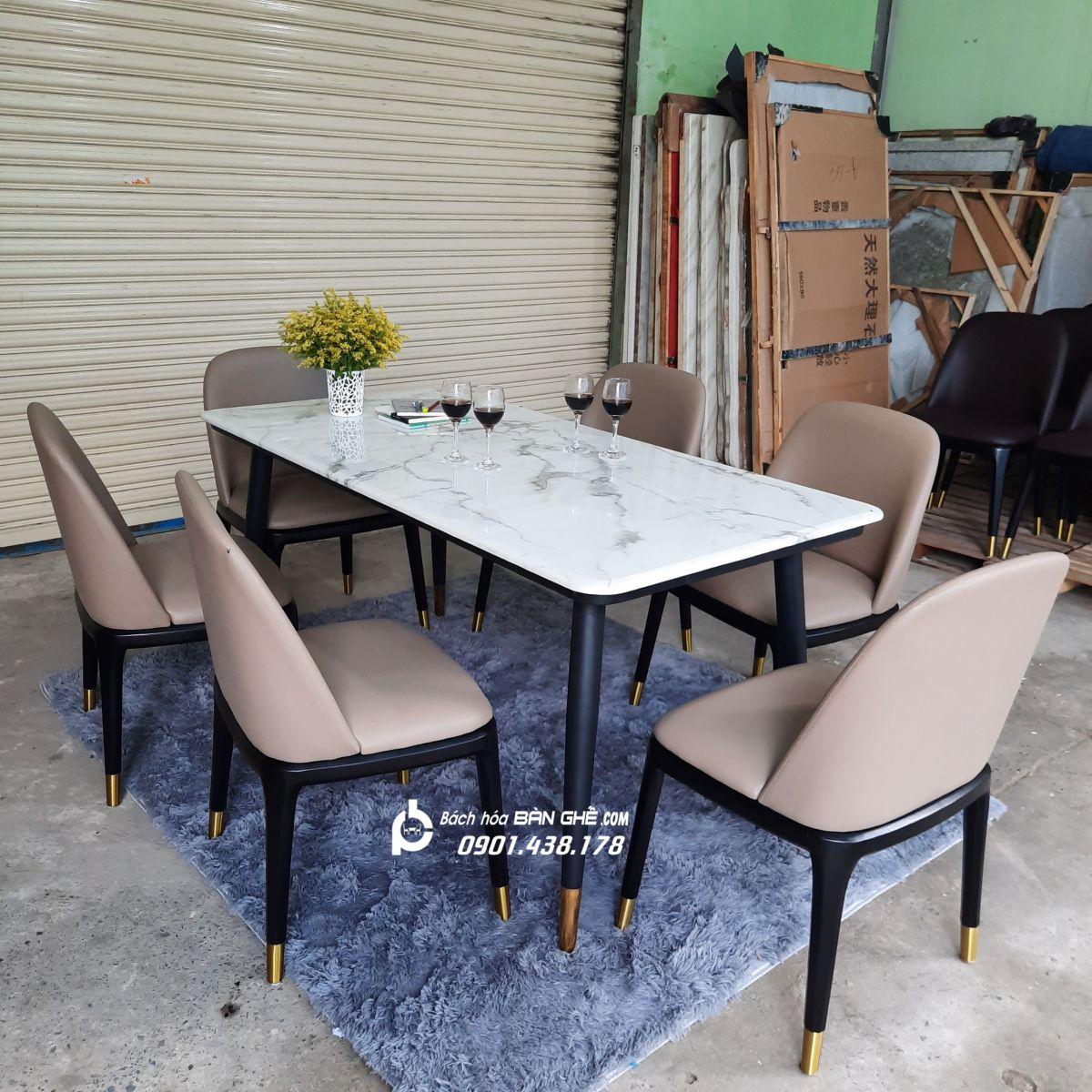 Bộ bàn ăn mặt đá 6 ghế da MAV06