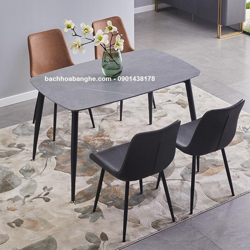 Bộ bàn ăn mặt đá ceramic màu xám ghế da nelson
