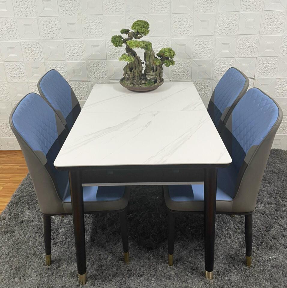 Bộ bàn ăn mặt đá thông minh kéo giãn kích thước 4 ghế da