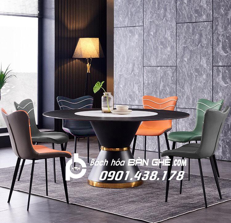 Bộ bàn ăn mặt đá tròn mâm xoay ghế da Janda