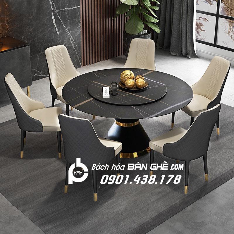 Bộ bàn ăn tròn mặt đá mâm xoay ghế da Louis sang trọng