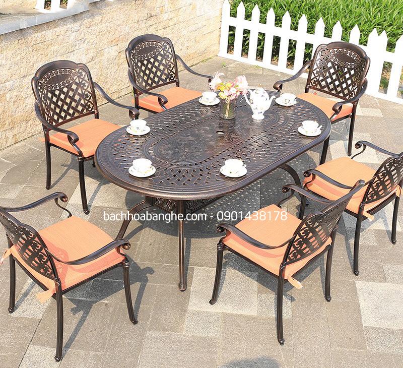 Ghế cafe sân vườn ngoài trời nhôm đúc có tay vịn GSV14
