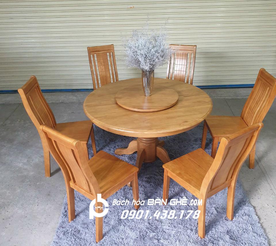 Bộ bàn ăn tròn 6 ghế gỗ MAV02