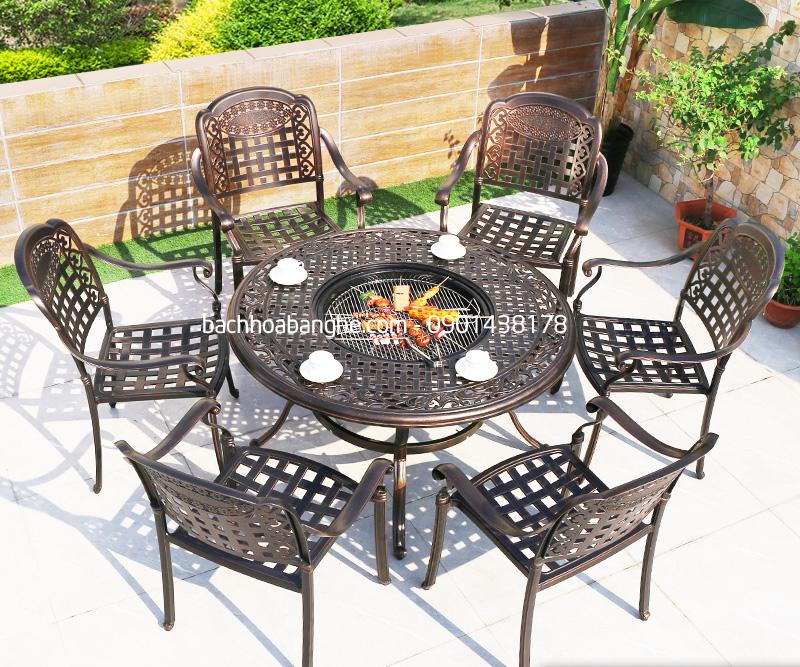 Bàn tròn có bếp Ghế cafe sân vườn ngoài trời nhôm đúc có tay vịn GSV13