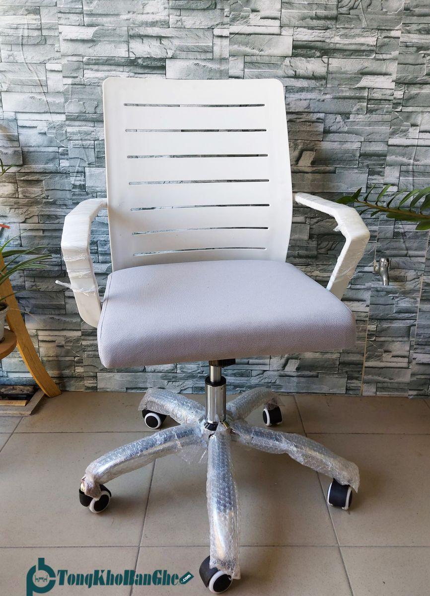 Ghế xoay văn phòng lưng nhựa GLMV21 màu trắng
