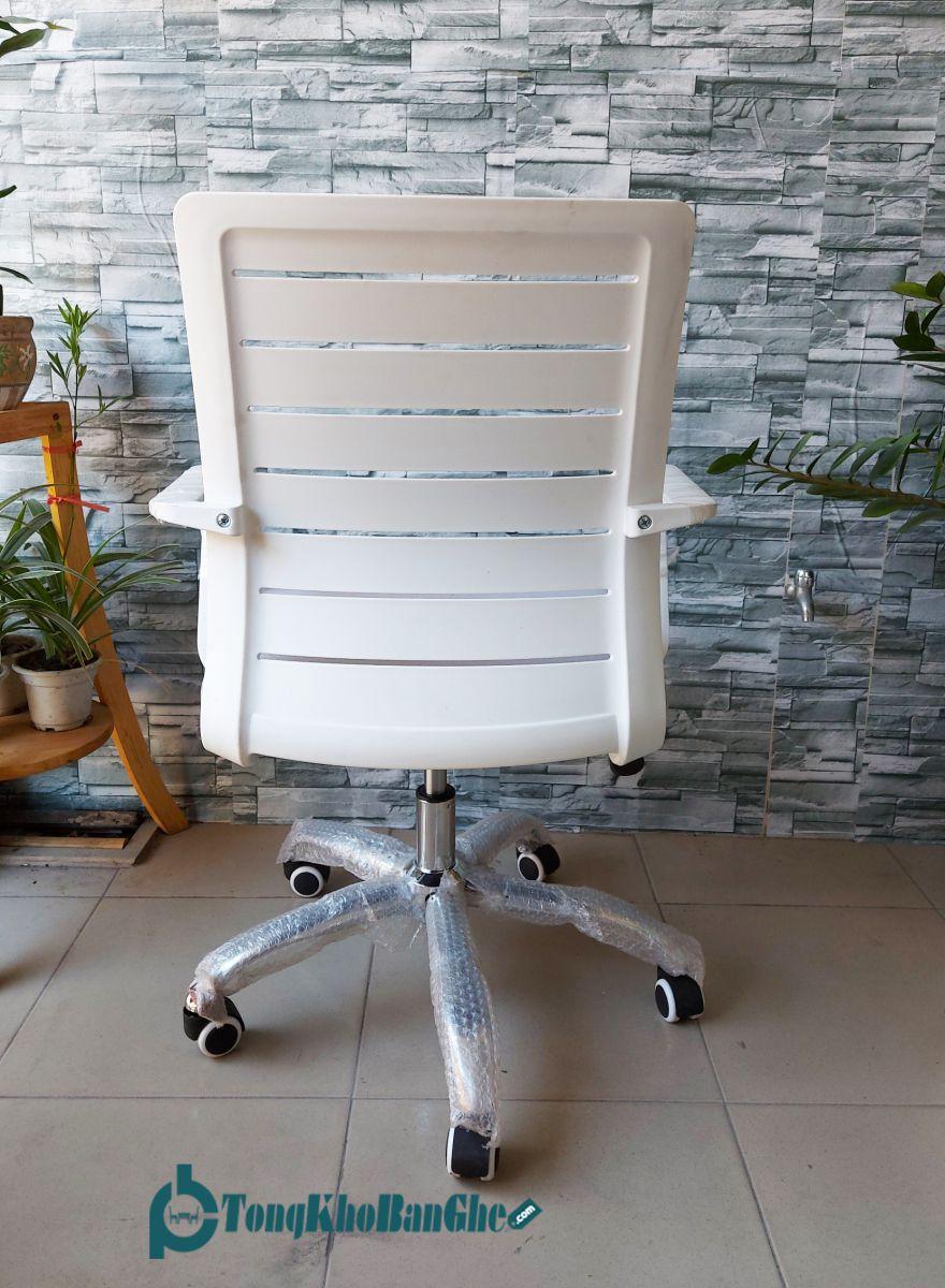 Ghế xoay văn phòng lưng nhựa GLMV21 màu trắng mặt sau