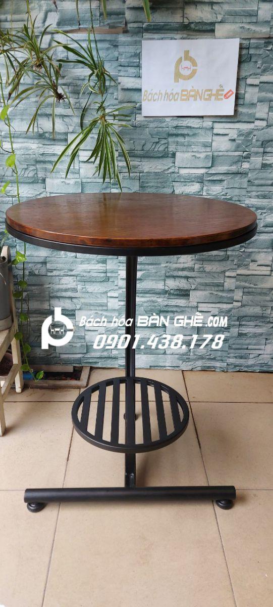 Bàn cafe, bàn decor mặt gỗ chân chữ C BB11