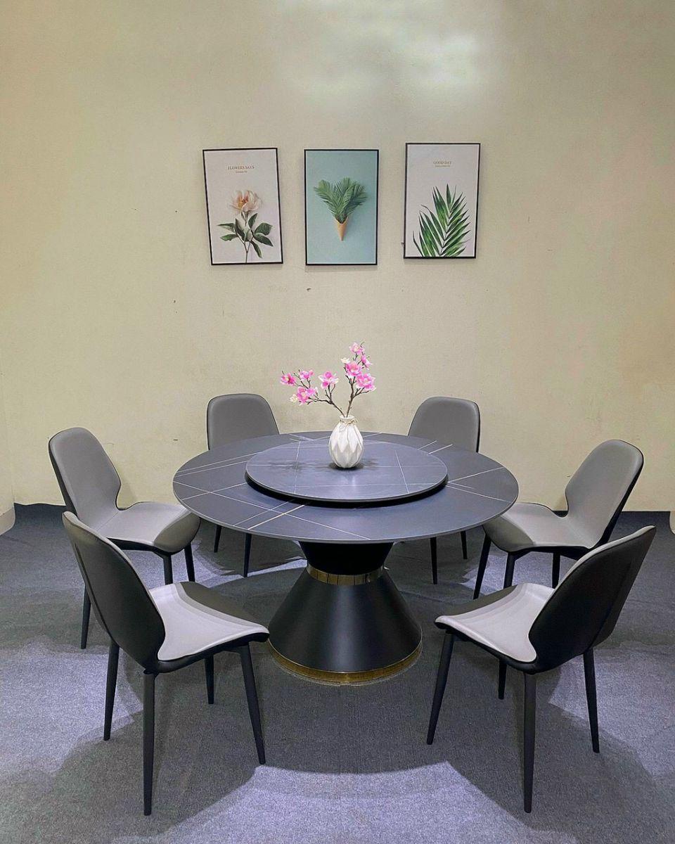 Bộ bàn ăn tròn mặt đá mâm xoay ghế da Nordic